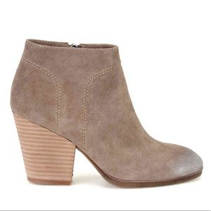 ANTHRO Leandra Block Heel Suede Ankle Bootie Boots